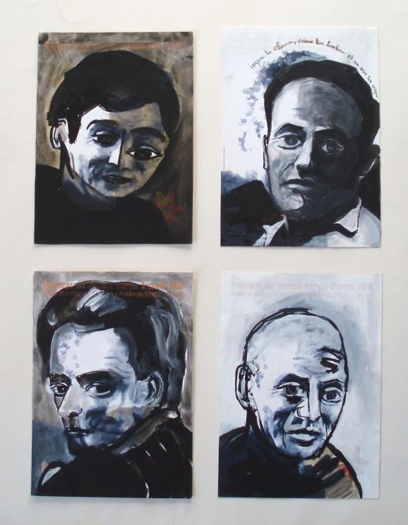 portrait,encre,écrivain,olivier jeunon,acrylique