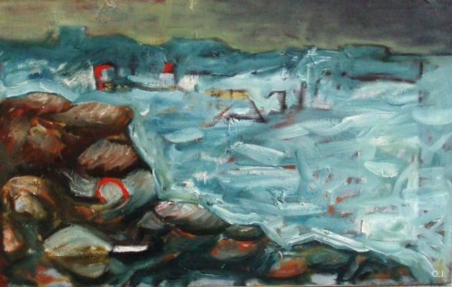 bords de mer,huile sur toile