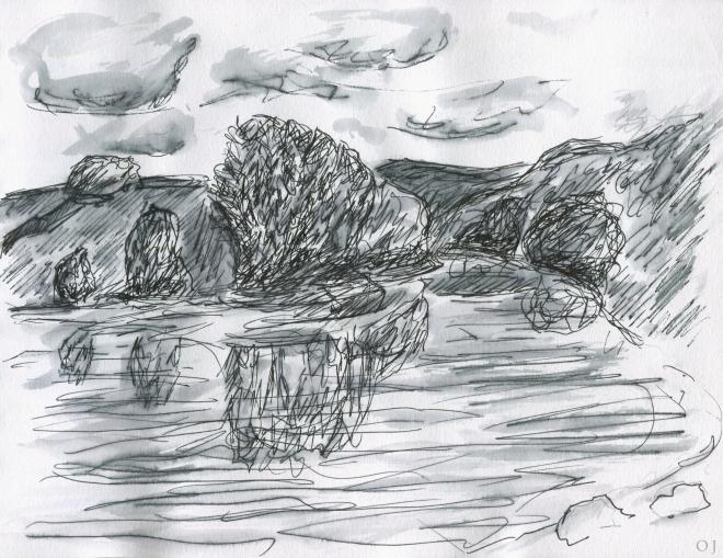 olivier jeunon,encre,morvan,lac de Chaumeçon,