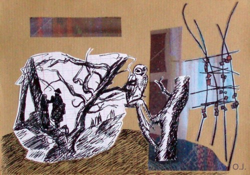 chouette,collage,encre