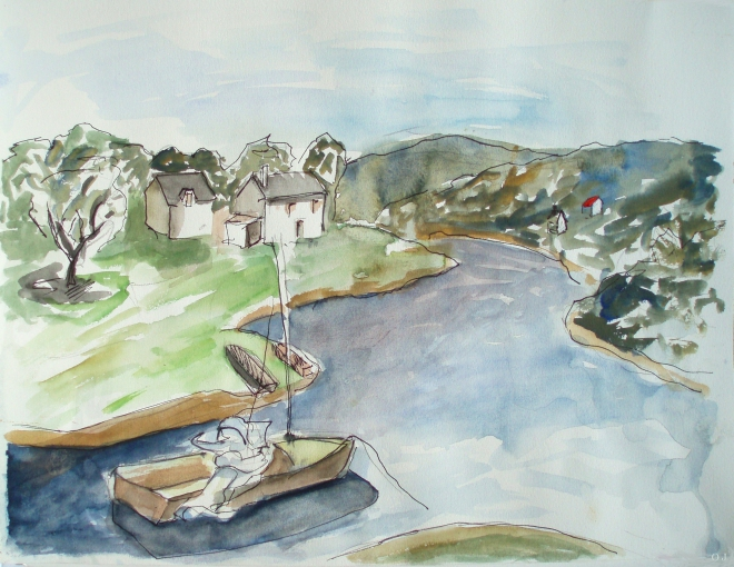 olivier jeunon,aquarelle,peinture,dessin,lac de pannecière,morvan,nièvre