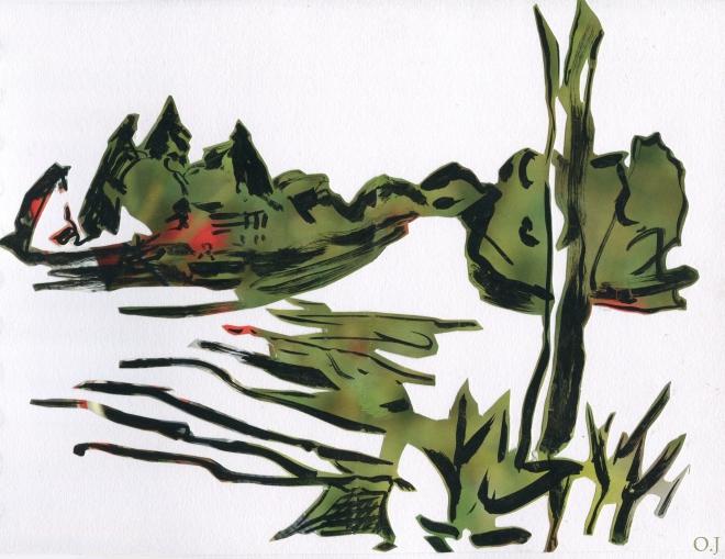 olivier jeunon,encre,collage,morvan,lac des settons