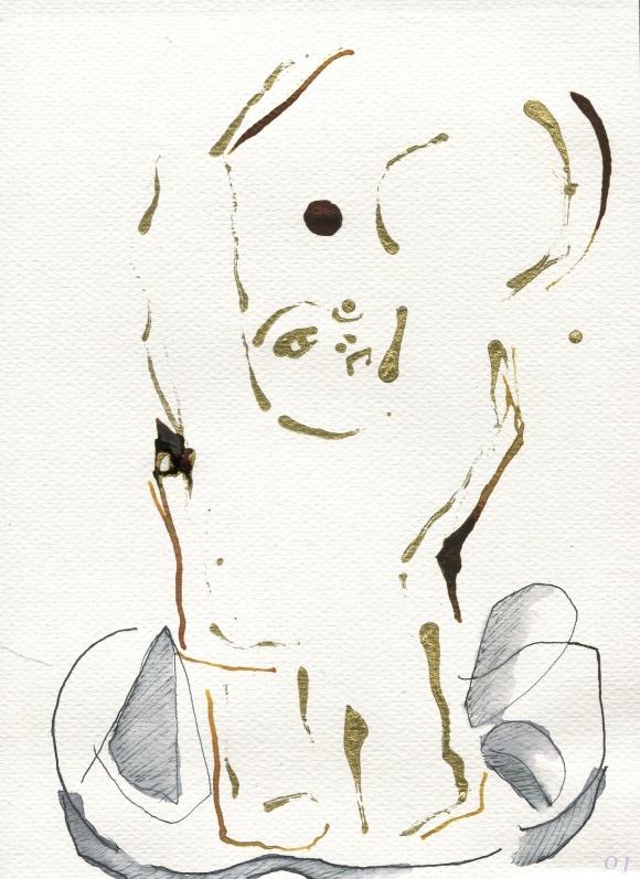 olivier jeunon,encre dorée,dessin,