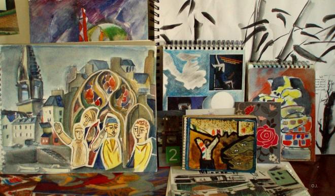 aquarelle,douarnenez,collage,encre