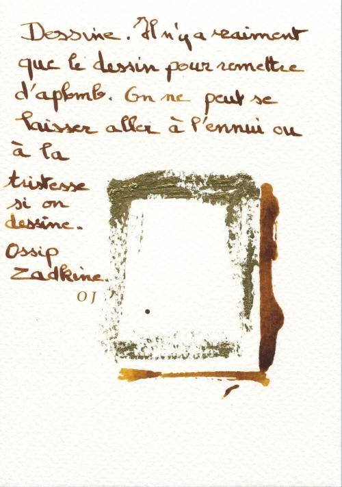 olivier jeunon,encre dorée,dessin,zadkine,augure,