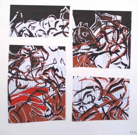 olivier jeunon,encre,collage,sanguine,goya,2 mai 1808,gouache
