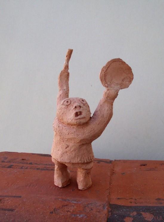 terre cuite,modelage,olivier jeunon,art,beaux arts,inuit,tambourin,magique