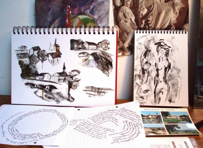olivier jeunon,monceaux le comte,collage,encre,fleur du nivernais,dessin