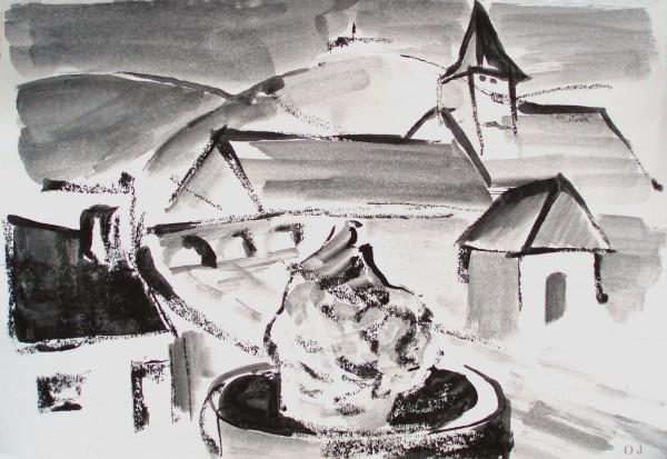 saint andré en morvan, nièvre,olivier jeunon,encre,la fontaine de saint andré,