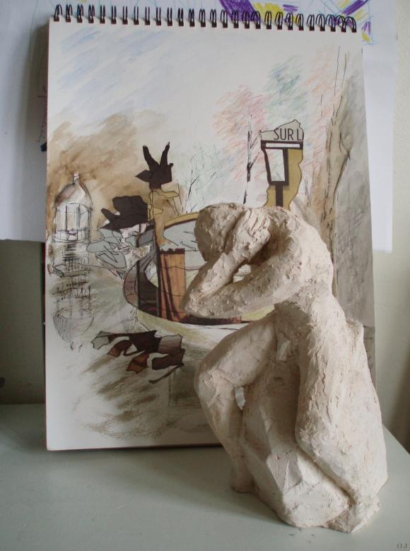 olivier jeunon,sculpture,terre cuite,l'arboretum,collage,