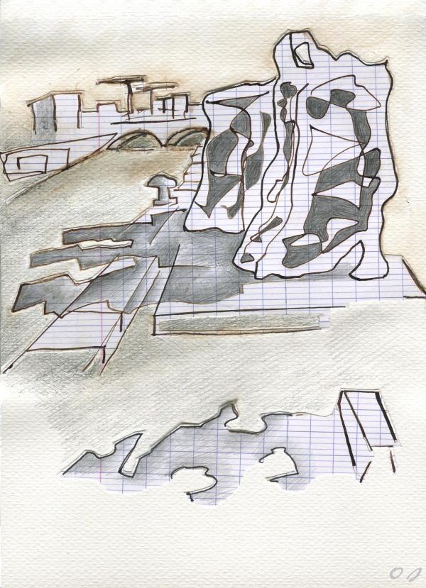 olivier jeunon,dessin,collage,quai de la gare,Paris,