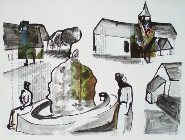 saint andré en morvan,olivier jeunon,collage,dessin,peinture